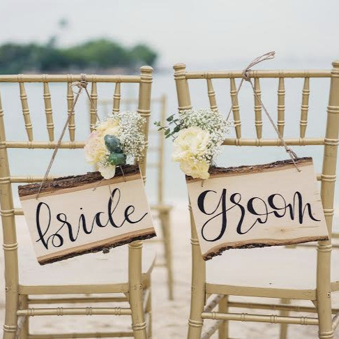 Bride & Groom Wooden Signage