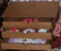 Three small drawer wooden craft storage box.