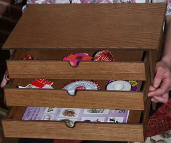 Three small drawer wooden craft storage box.