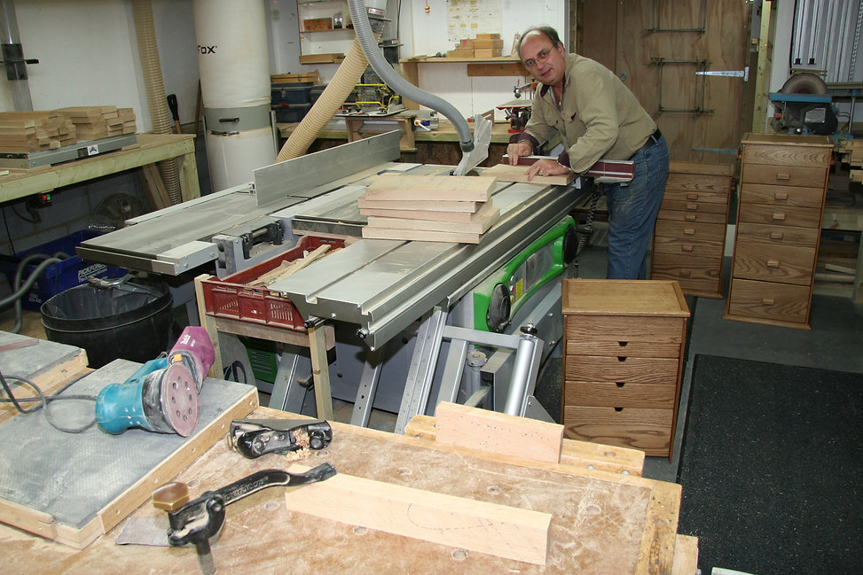 View of workshop with Dad (Roy) making Touchwood boxes.