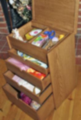 Small, 4 drawer, wooden craft workbox