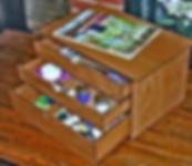 Medium Embroidery workbox. 2 small, l Medium drawers.