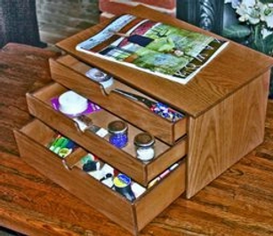 three drawer wood craft box