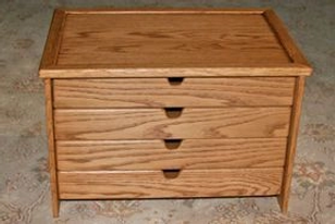 Four drawer Skein storage box with finger pull drawer opening.