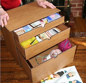 Three drawer knitting storage box