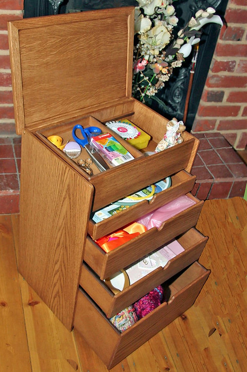 Small wood craft or knittting storage box.