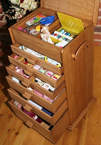 Large Wood sewing box with 6 drawers
