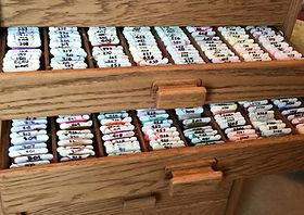 Cross stitchers two open bobbin storage drawers