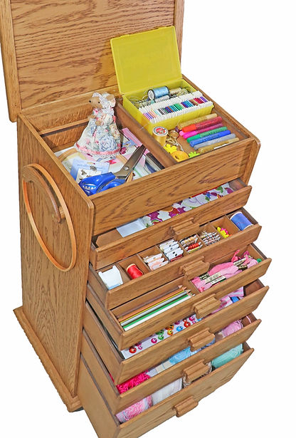 Wooden Cross Stitch box 6 drawer craft storage box