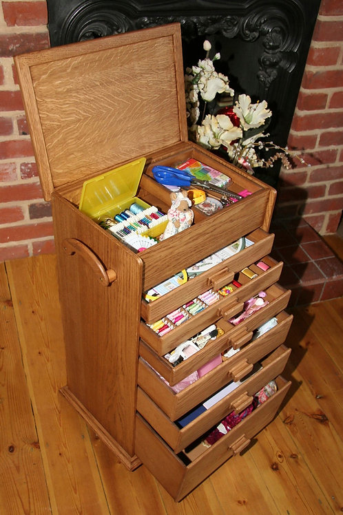 6 Drawer wooden cross stitch or sewing box.