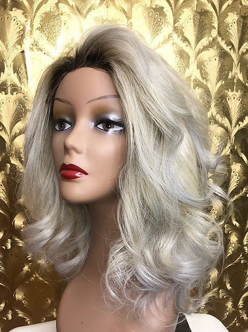 icy blonde with dark roots