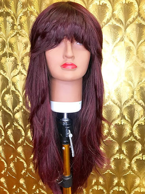 burgundy layed full head with bangs