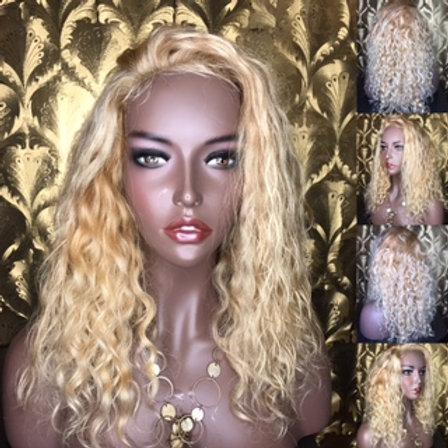 Brazilian blonde curly human hair wig