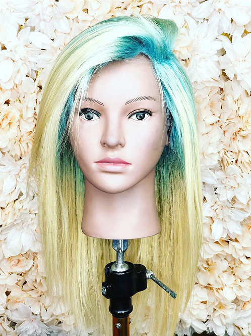Blonde with sky blue roots