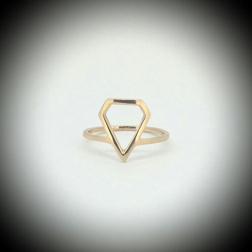 Diamond Shaped Yellow Gold Ring
