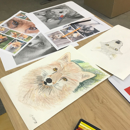 10 year old artists A and MM on a taster session