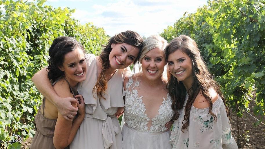 Bride, Bridesmaids, Happy, Wedding, Winery, Makeup, Soft Glam