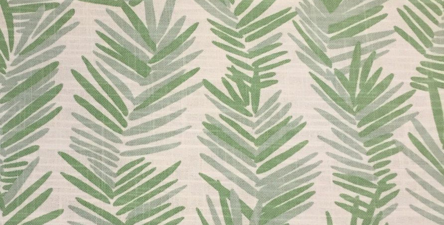 Palm Leaves - Aqua & Green Linen