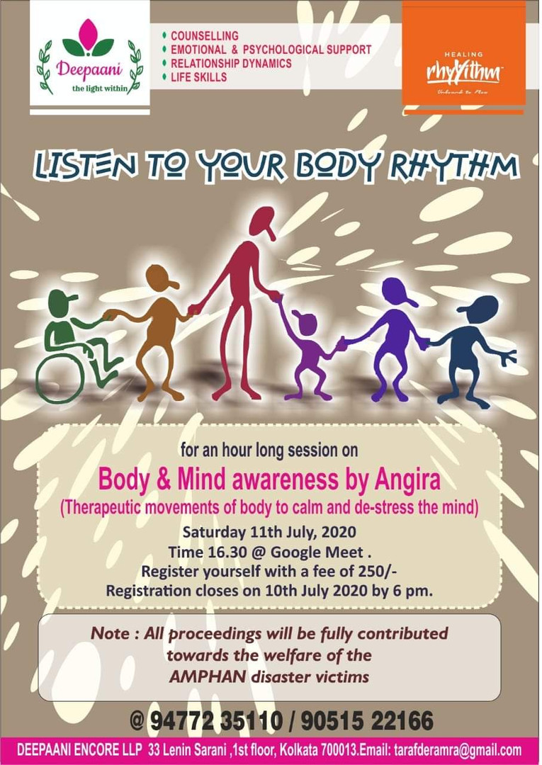 Listen to your Body Rhythm with Deepani towards Amphan relief
