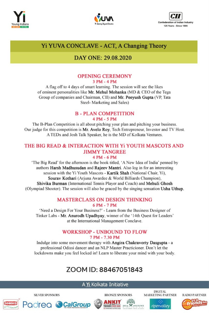 Itenary for Yi Youth Conclave