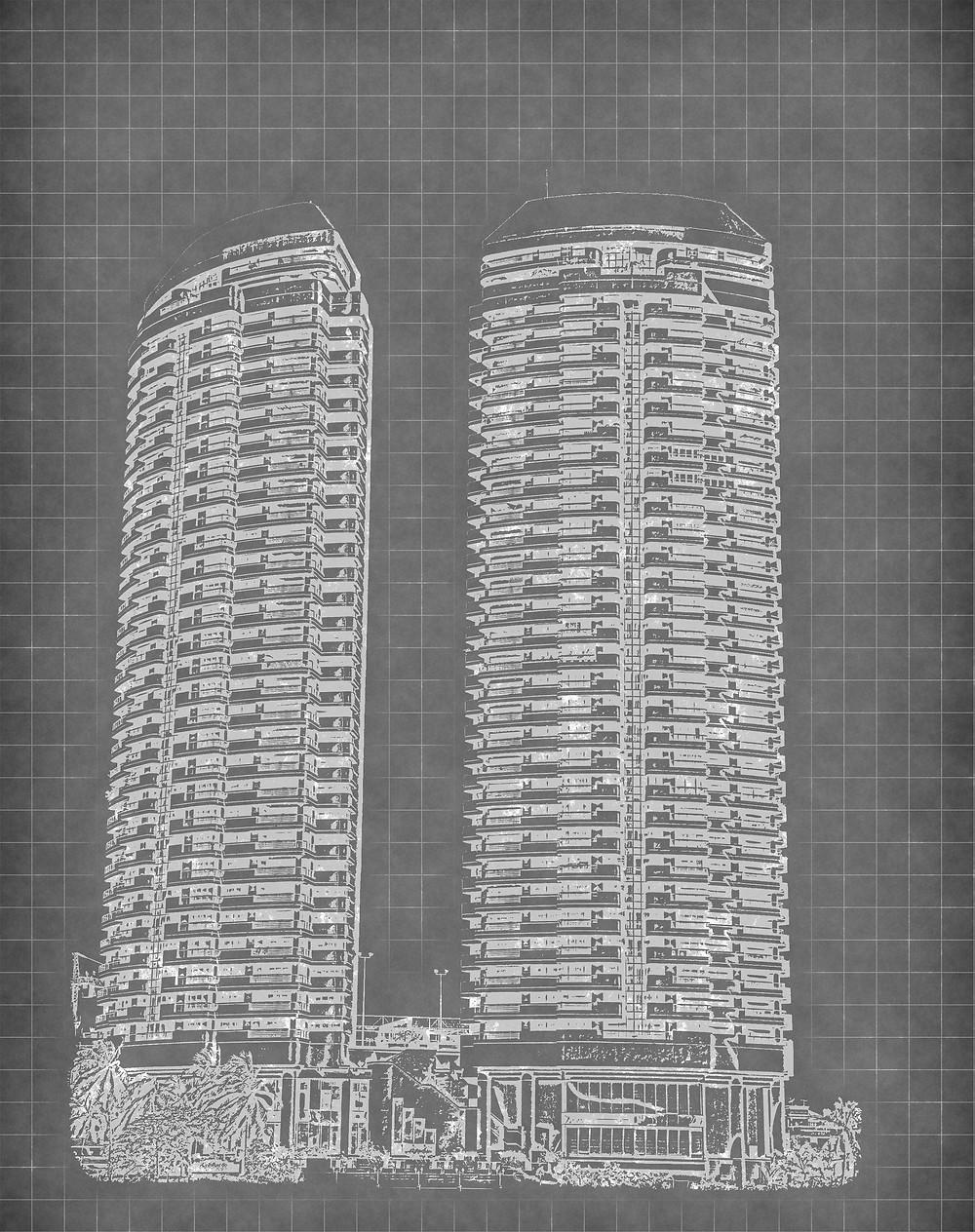 Ilustração de torres de apartamentos.
