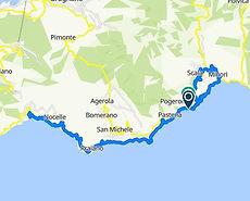 Route bike tour Boat&Bike from Amalfi, R