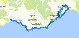 Route in Amalfi coast, Amalfi, Ravello, with irentbike.com