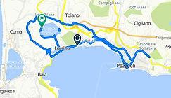 Percorso tour Campi flegrei Cantine dell'Averno, con irentbike.it