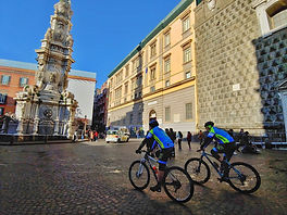 Bike tours Naples Shortly, visit to the New Jesus Church, Piazza Gesù nouvo, by irentbike.com