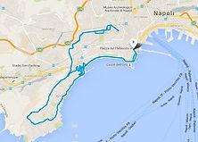 """Percorso del tour """"in giro per le Piazze di Napoli, by irentbike.it"""