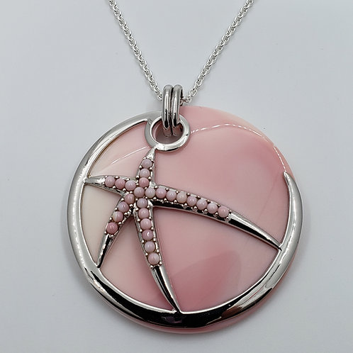 Conch Shell Circle Starfish Necklace