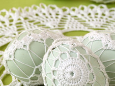 White Embroidered Eggs