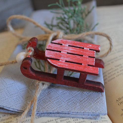 Petite luge en bois - Rouge *