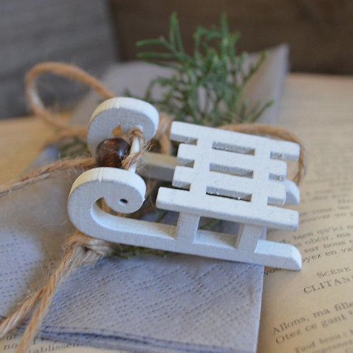 Petite luge en bois - Blanc *