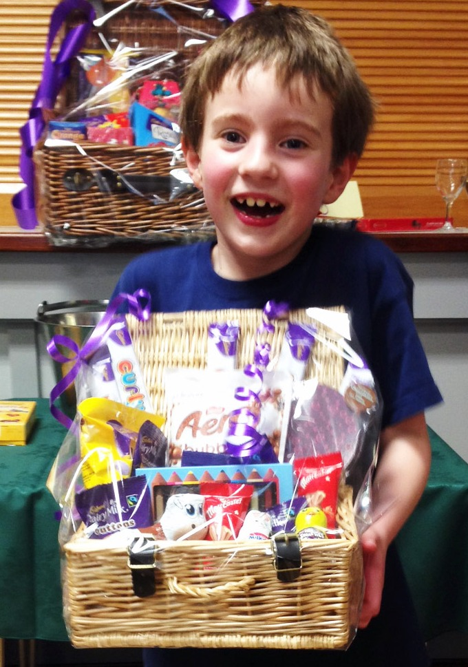 Thomas winning Chocolate Bingo