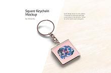 Square Keychain Mockup