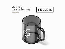 Freebie! Glass Mug Animated Mockup