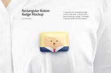 Rectangular Button Badge Mockup