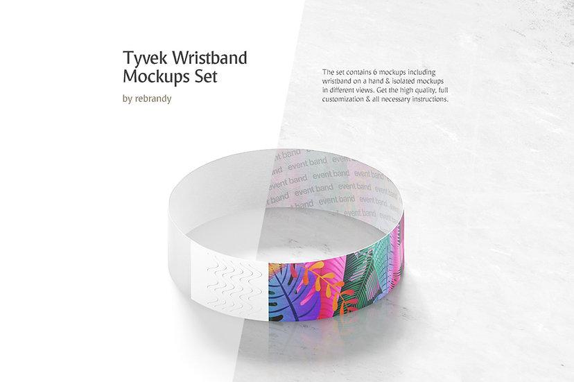Tyvek Wristband Mockups Set - Extended