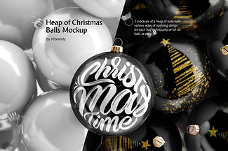 Heap of Christmas Balls Mockup