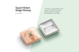 Square Button Badge Mockup