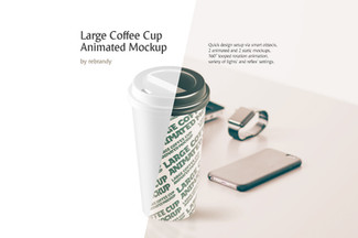 Large Coffee Cup Animated Mockup