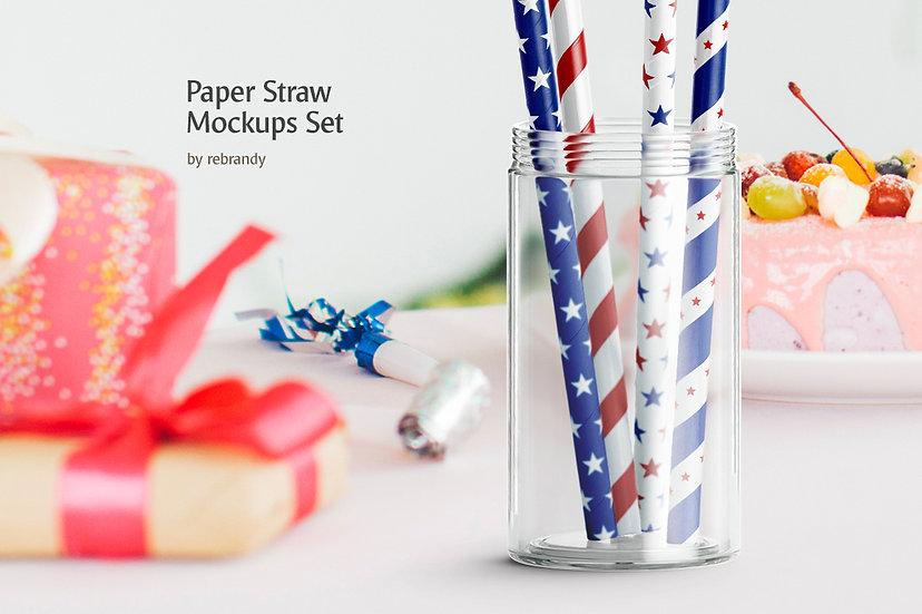 Paper Straw Mockups Set