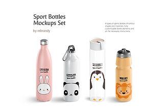 Sport Bottles Mockups Set