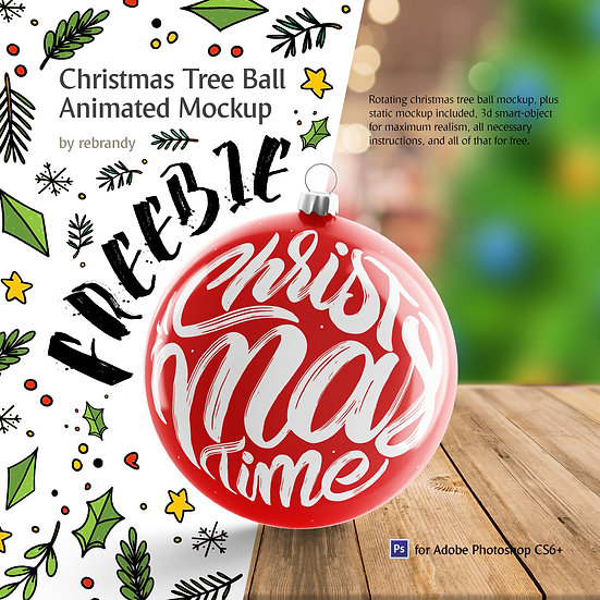Freebie! Christmas Tree Ball Animated Mockup