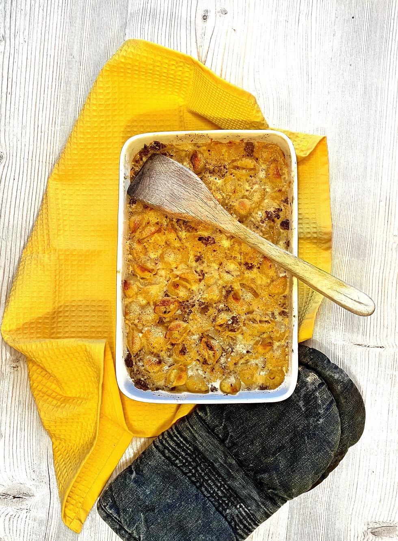 Makaronilaatikko, juustoinen, helppo arkiruoka
