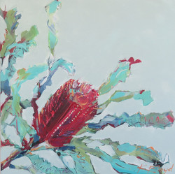 Banksia in Red and Aqua, Mixed Media on
