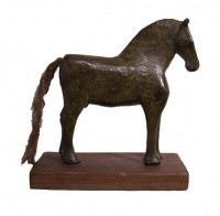 Brown Bronze Horse with Sisal Tail