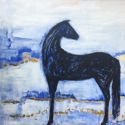 Blue And Gold Horse