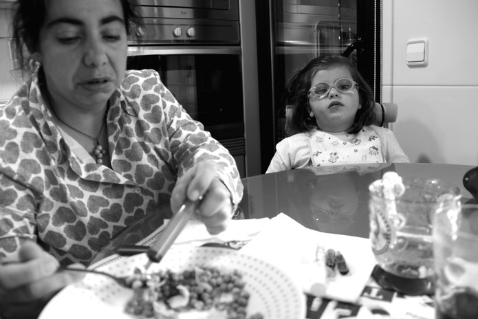 Desayuno con Carlota y su madre.